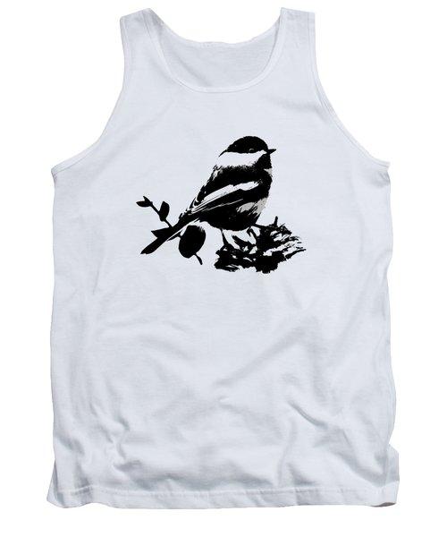 Chickadee Bird Pattern Tank Top by Christina Rollo