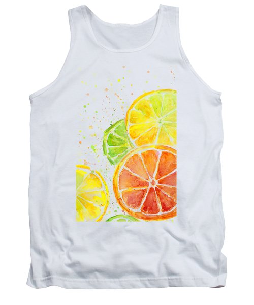 Citrus Fruit Watercolor Tank Top by Olga Shvartsur