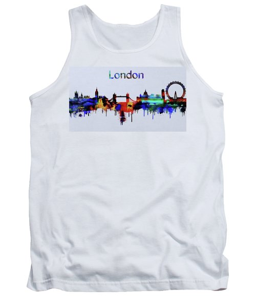 Colorful London Skyline Silhouette Tank Top by Dan Sproul
