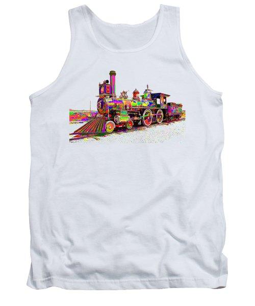 Colorful Steam Locomotive Tank Top by Samuel Majcen