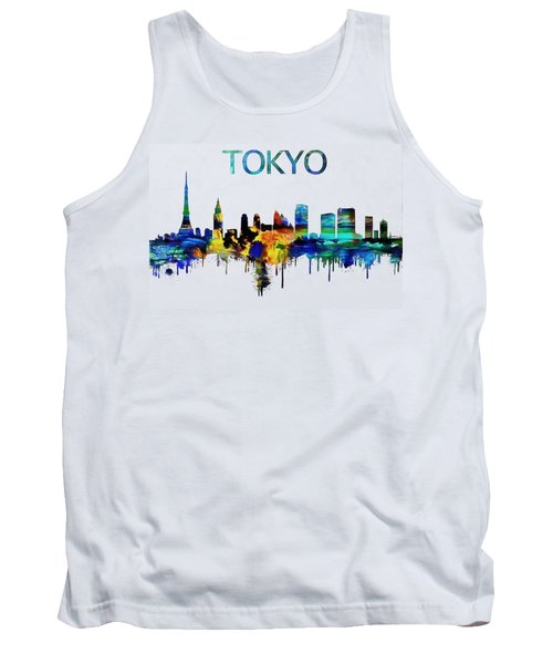 Colorful Tokyo Skyline Silhouette Tank Top by Dan Sproul
