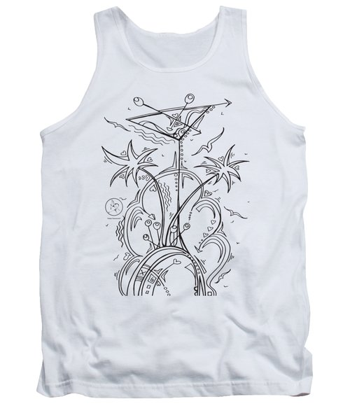 Coloring Page With Beautiful Tropical Martini Drawing By Megan Duncanson Tank Top by Megan Duncanson