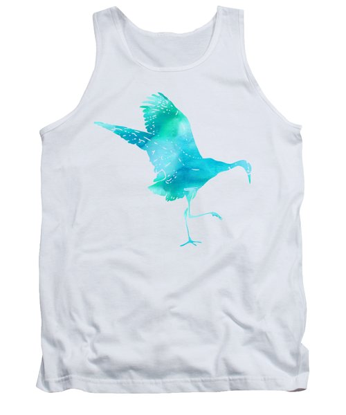 Crane Ready For Flight - Blue-green Watercolor Tank Top by Custom Home Fashions