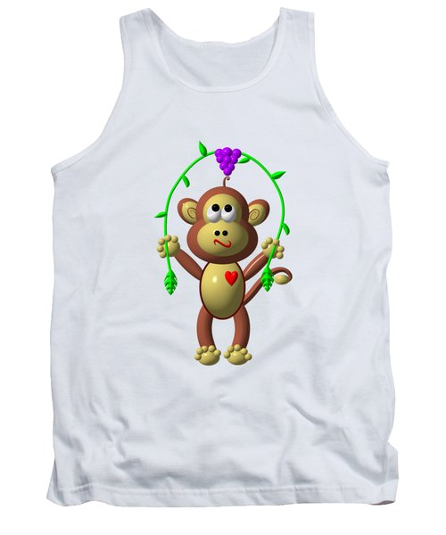 Cute Monkey Jumping Rope Tank Top by Rose Santuci-Sofranko