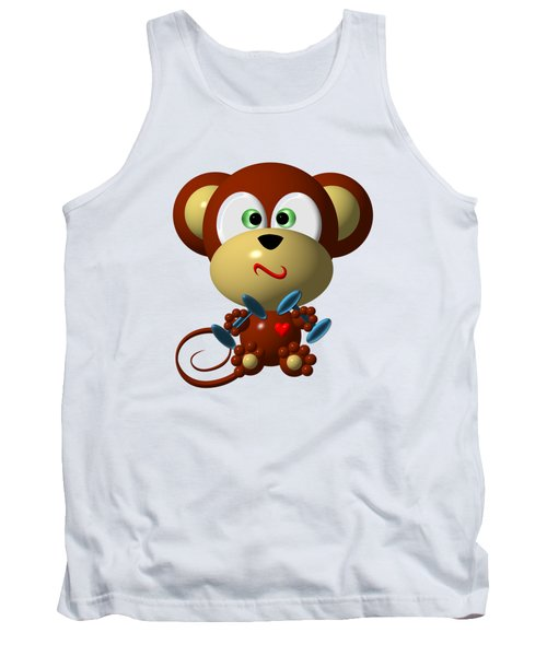 Cute Monkey Lifting Weights Tank Top by Rose Santuci-Sofranko