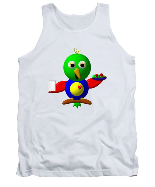 Cute Parrot With Healthy Salad And Milk Tank Top by Rose Santuci-Sofranko