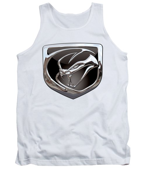 Dodge Viper 3 D  Badge Special Edition On White Tank Top by Serge Averbukh