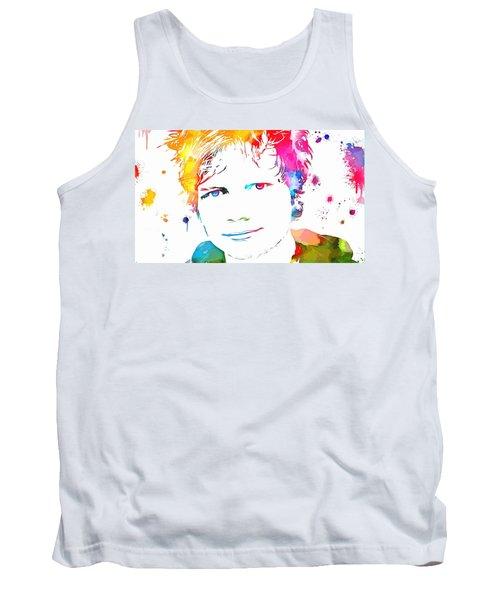 Ed Sheeran Paint Splatter Tank Top by Dan Sproul