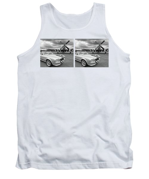 Eleanor Mustang With P51 Black And White Tank Top by Gill Billington