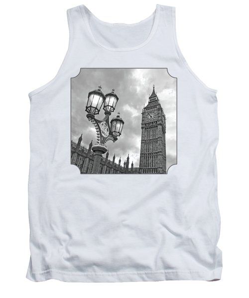 Evening Light At Big Ben In Black And White Tank Top by Gill Billington