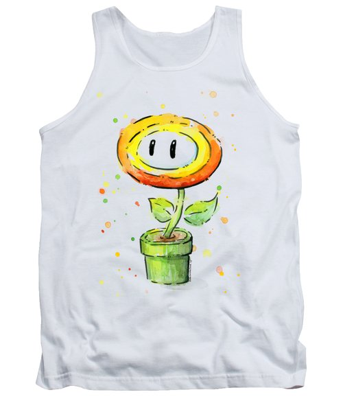 Fireflower Watercolor Tank Top by Olga Shvartsur