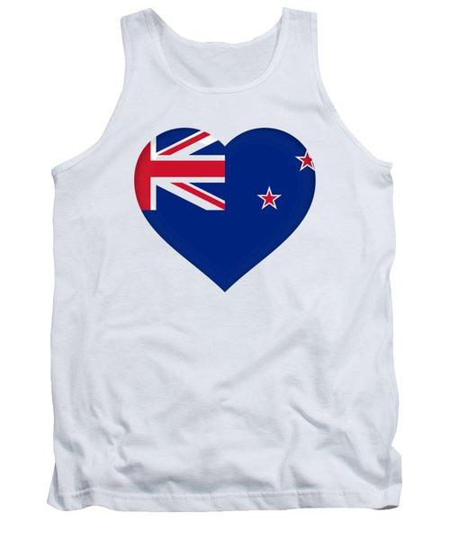 Flag Of New Zealand Heart Tank Top by Roy Pedersen