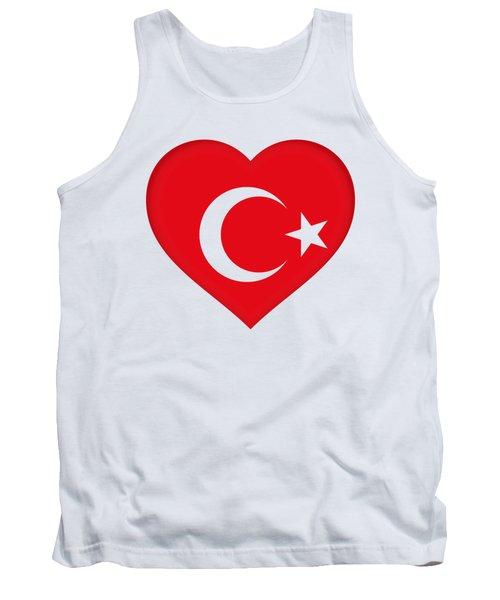 Flag Of Turkey Heart Tank Top by Roy Pedersen