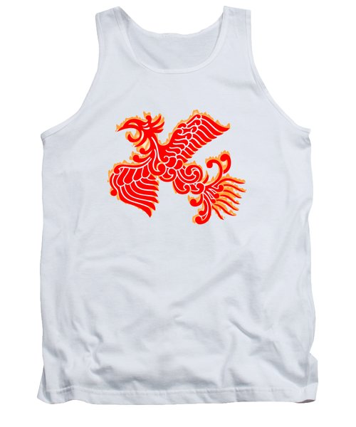 Flaming Red Phoenix Rising Tank Top by Nathan Beardsley