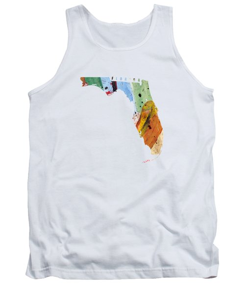 Florida Map Art - Painted Map Of Florida Tank Top by World Art Prints And Designs