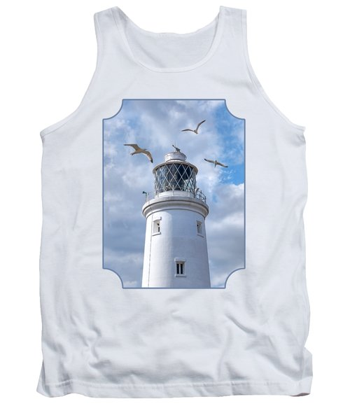 Fly Past - Seagulls Round Southwold Lighthouse Tank Top by Gill Billington