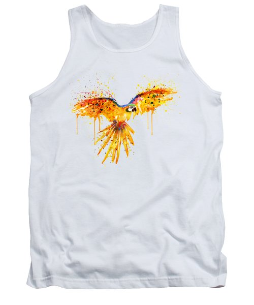 Flying Parrot Watercolor Tank Top by Marian Voicu