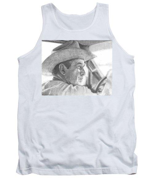 Former Pres. George W. Bush Wearing A Cowboy Hat Tank Top by Michelle Flanagan