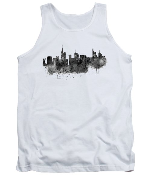 Frankfurt Black And White Skyline Tank Top by Marian Voicu