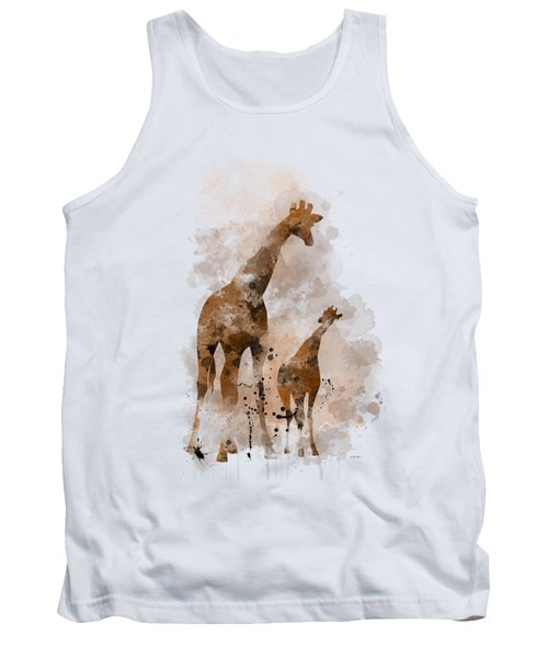 Giraffe And Baby Tank Top by Marlene Watson