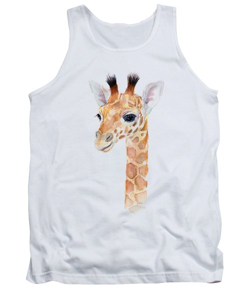 Giraffe Watercolor Tank Top by Olga Shvartsur