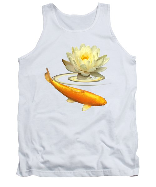 Golden Harmony - Koi Carp With Water Lily Tank Top by Gill Billington