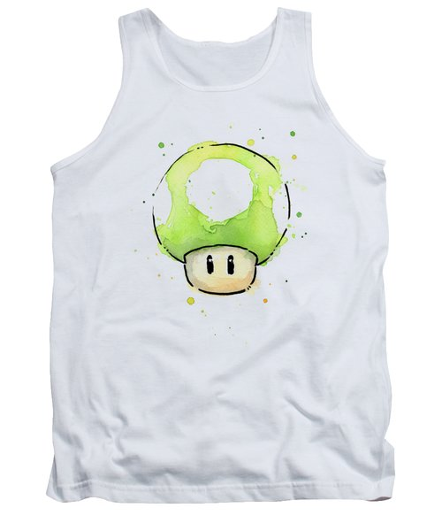 Green 1up Mushroom Tank Top by Olga Shvartsur