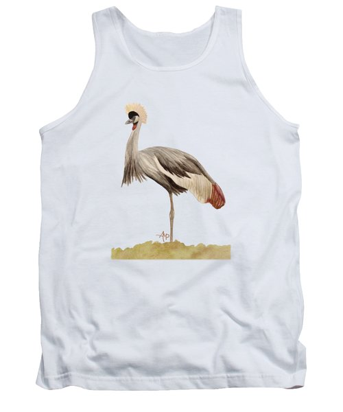 Grey Crowned Crane Tank Top by Angeles M Pomata