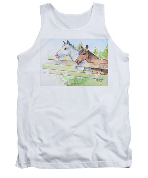 Horses Watercolor Sketch Tank Top by Olga Shvartsur