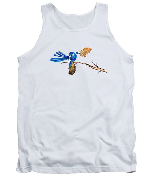 Inked Blue Fairy Wren Tank Top by Lorraine Kelly