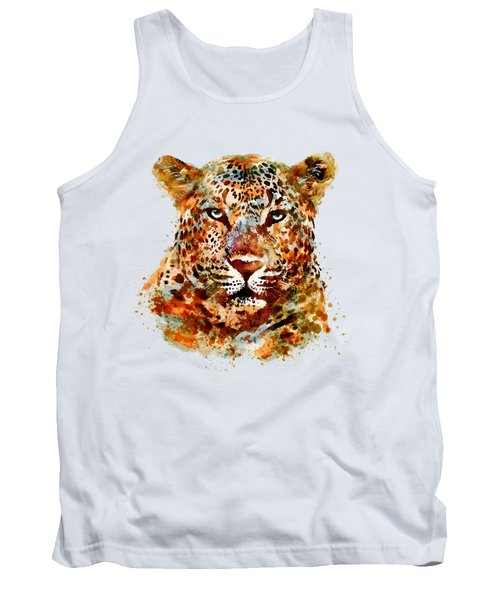 Leopard Head Watercolor Tank Top by Marian Voicu