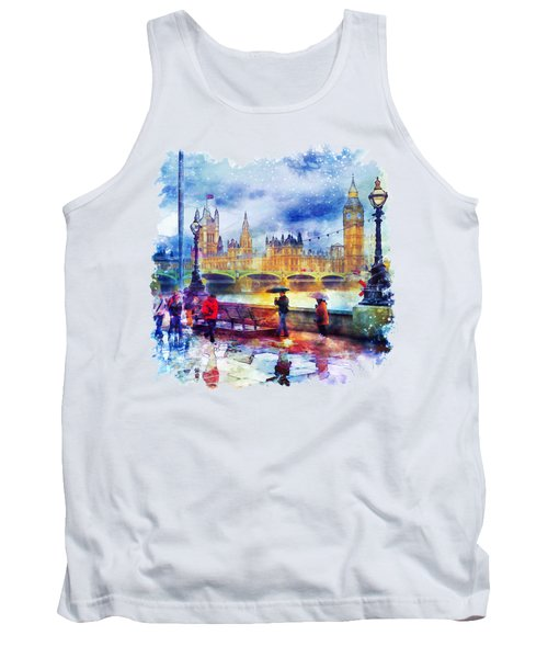 London Rain Watercolor Tank Top by Marian Voicu