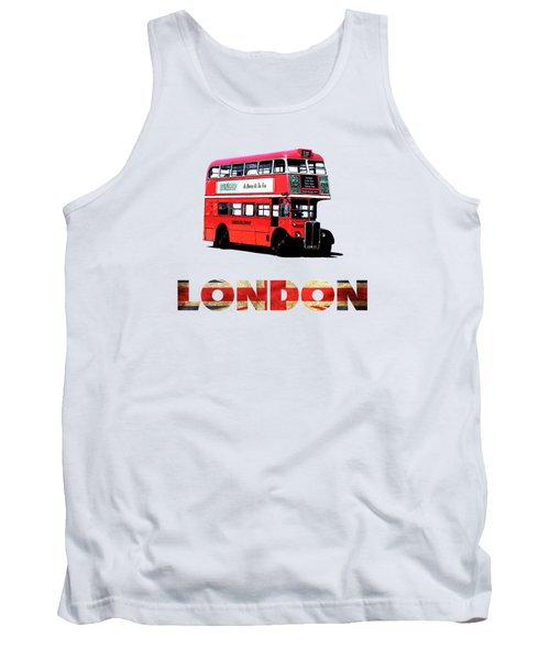London Red Double Decker Bus Tee Tank Top by Edward Fielding