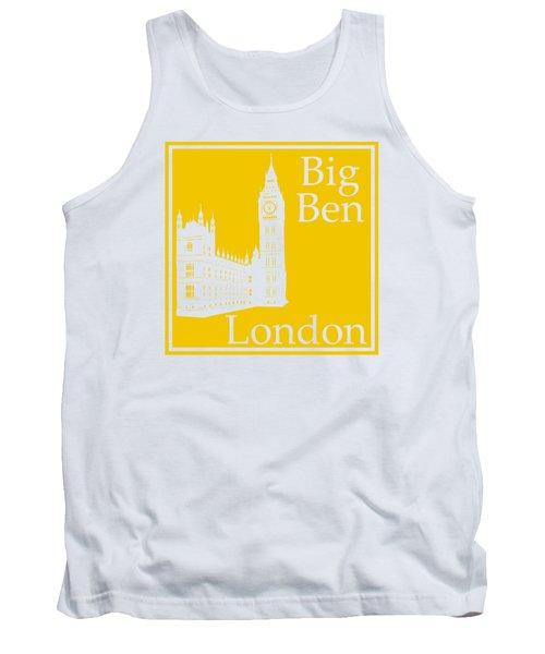 London's Big Ben In Mustard Yellow Tank Top by Custom Home Fashions