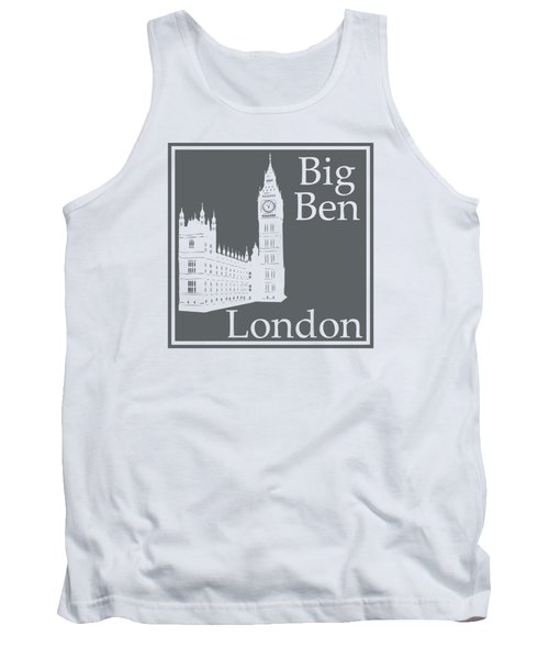 London's Big Ben In Storm Gray Tank Top by Custom Home Fashions