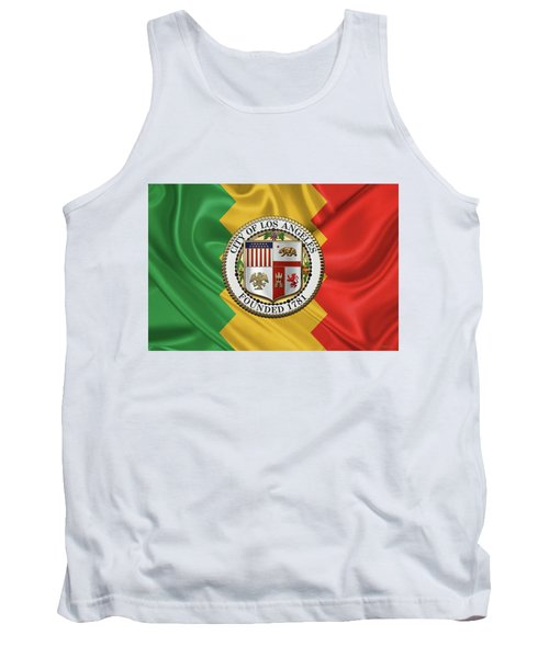 Los Angeles City Seal Over Flag Of L.a. Tank Top by Serge Averbukh
