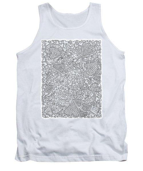 Love And Chrysanthemum Filled Hearts Vertical Tank Top by Tamara Kulish