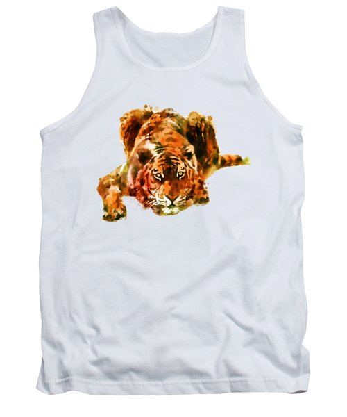 Lurking Tiger Tank Top by Marian Voicu
