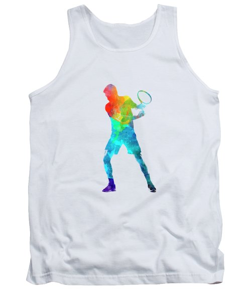 Man Tennis Player 02 In Watercolor Tank Top by Pablo Romero
