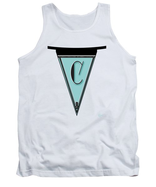 Pennant Deco Blues Banner Initial Letter C Tank Top by Cecely Bloom