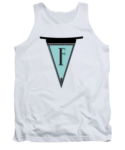 Pennant Deco Blues Banner Initial Letter F Tank Top by Cecely Bloom