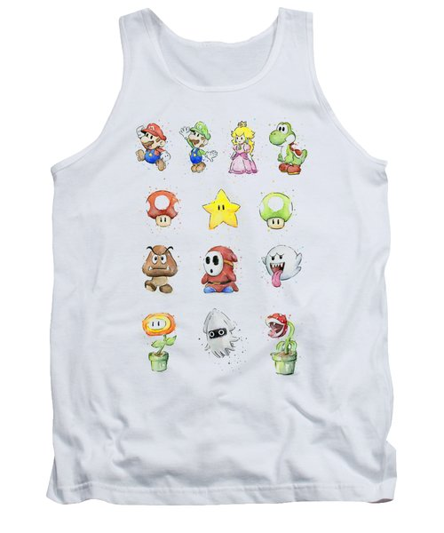 Mario Characters In Watercolor Tank Top by Olga Shvartsur