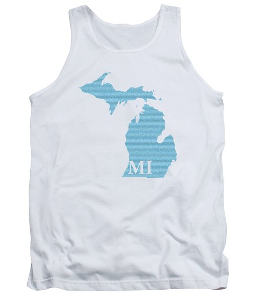 Michigan State Map With Text Of Constitution Tank Top by Design Turnpike