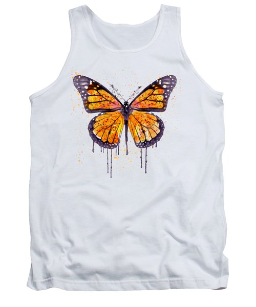 Monarch Butterfly Watercolor Tank Top by Marian Voicu