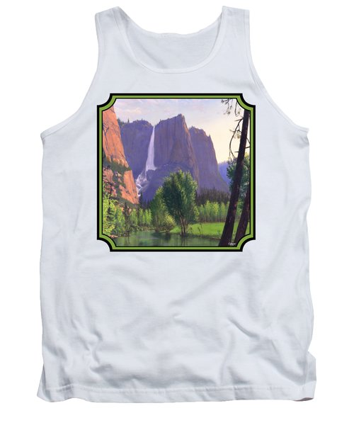 Mountains Waterfall Stream Western Landscape - Square Format Tank Top by Walt Curlee