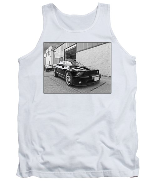 Mustang Alley In Black And White Tank Top by Gill Billington