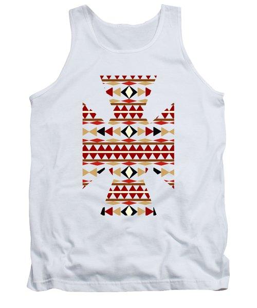 Navajo White Pattern Art Tank Top by Christina Rollo
