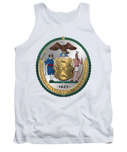 New York City Coat Of Arms - City Of New York Seal Over White Leather  Tank Top by Serge Averbukh