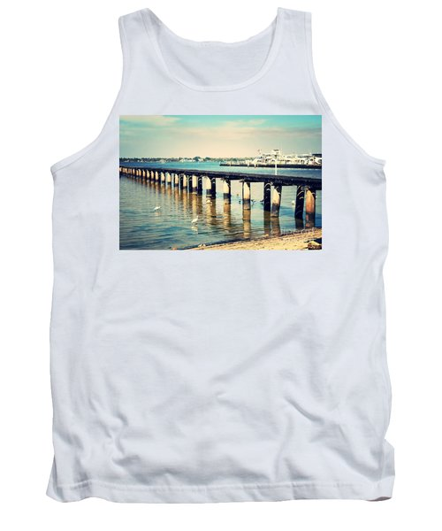 Old Fort Myers Pier With Ibises Tank Top by Carol Groenen