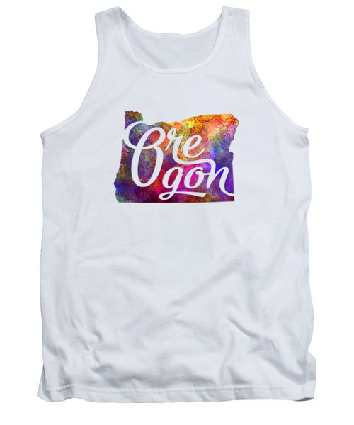 Oregon Us State In Watercolor Text Cut Out Tank Top by Pablo Romero